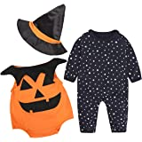 SERAPHY Baby Halloween 3PCS Outfit Clothing Set Pumpkin Costume for Kids Cosplay Party Clothes
