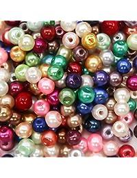 TOAOB 1000個4mm多色ラウンドガラスパールビーズ色のついた偽の小さな真珠ビーズジュエリーの装飾ネックレスイヤリングを作る