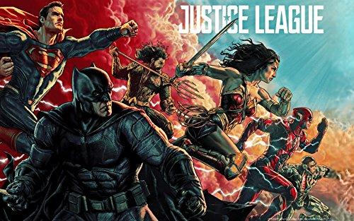 ジャスティス・リーグ Justice League シルク調生地 ファブリック アート キャンバス ポスター 約60×90cm