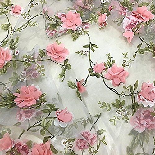 IRIZ140*90cm レースファブリック オーガンザヴィンテージ植物フローラル生地 (ピンク)