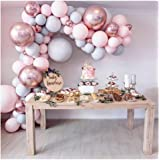 LEKANI 136 Pieces Balloon Garland Kit Balloon Arch Garland for Wedding Birthday Party Decorations(Pink Gray)