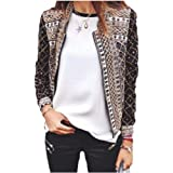 Howely Womens Zip-up Punk Floral Printed Cardi Stand Collar Jacket