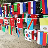 万国旗 運動会 文化祭 100ヶ国 連旗 全長は25m,フェスティバル 国際交流 運動会 体育 イベント 装飾 世界 国旗