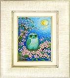 佐野千恵子『桜と白ふくろう(SM号)』油彩画