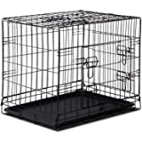"24"" Dog Cage Pet Crate Puppy Cat Foldable Metal Kennel Portable House 3 Doors S"