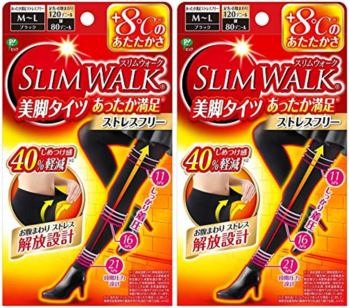 昼寝噂支配する【2個セット】 スリムウォーク (SLIM WALK) 美脚タイツ あったか満足 おそと用 M~Lサイズ