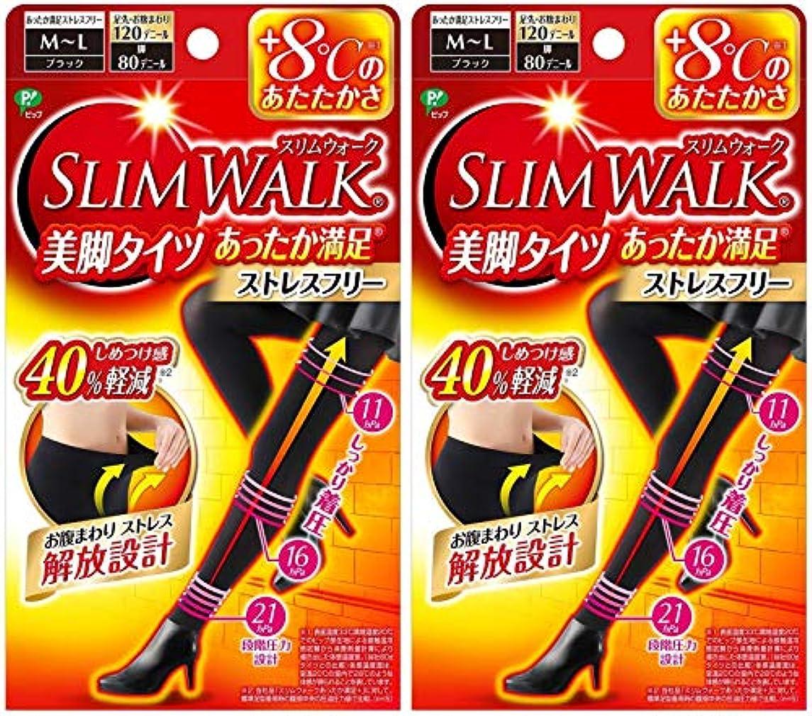屋内人物解明する【2個セット】 スリムウォーク (SLIM WALK) 美脚タイツ あったか満足 おそと用 M~Lサイズ