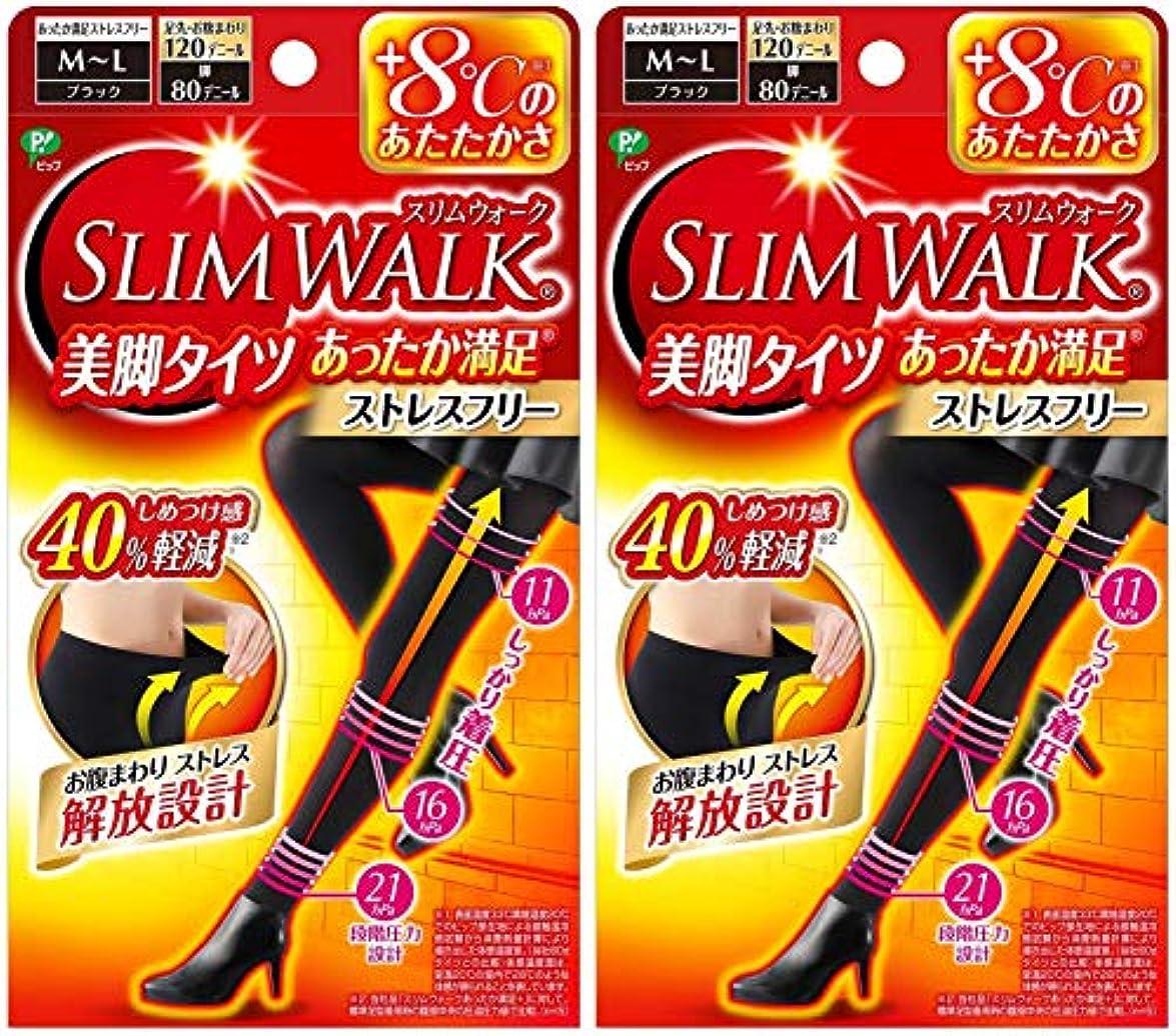 団結上級私たちのもの【2個セット】 スリムウォーク (SLIM WALK) 美脚タイツ あったか満足 おそと用 M~Lサイズ