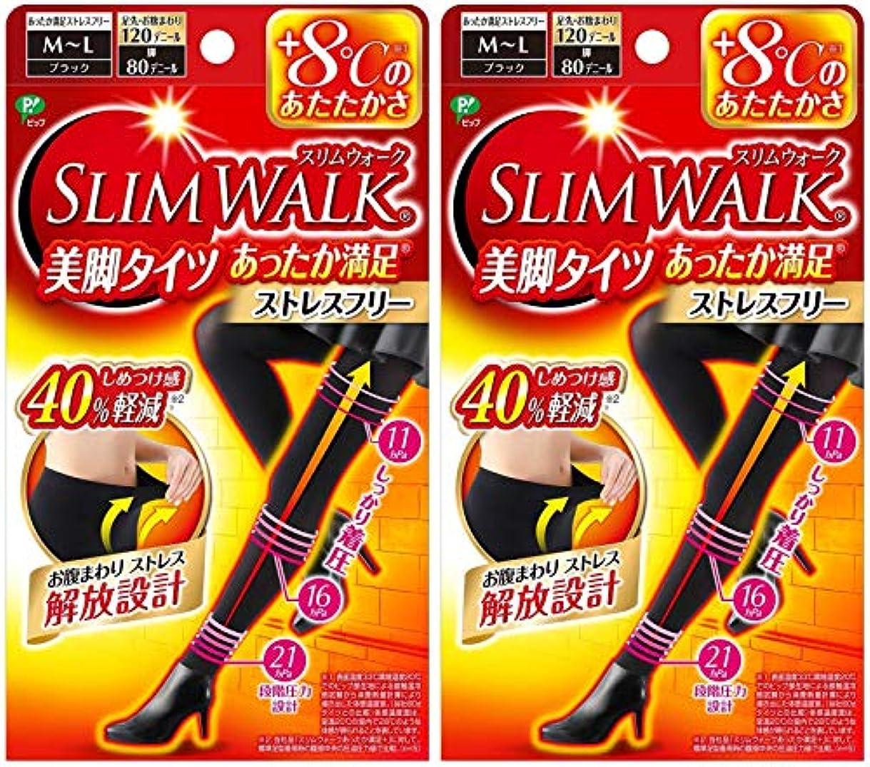 愚かカテナ救援【2個セット】 スリムウォーク (SLIM WALK) 美脚タイツ あったか満足 おそと用 M~Lサイズ