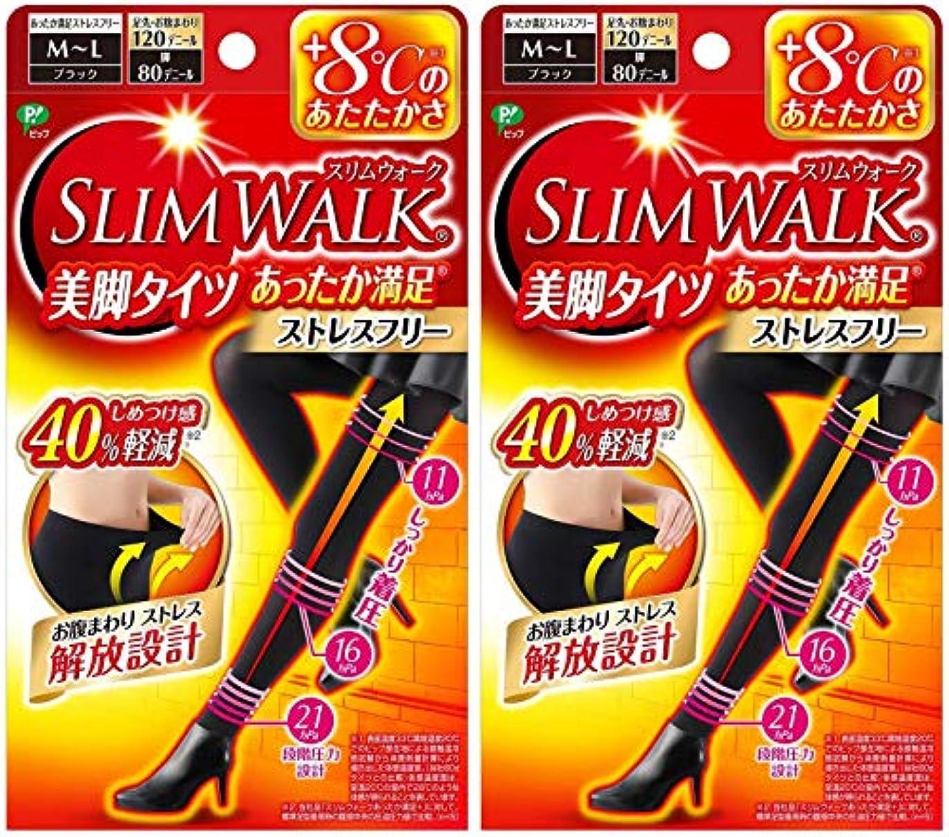 塊駐地下位【2個セット】 スリムウォーク (SLIM WALK) 美脚タイツ あったか満足 おそと用 M~Lサイズ