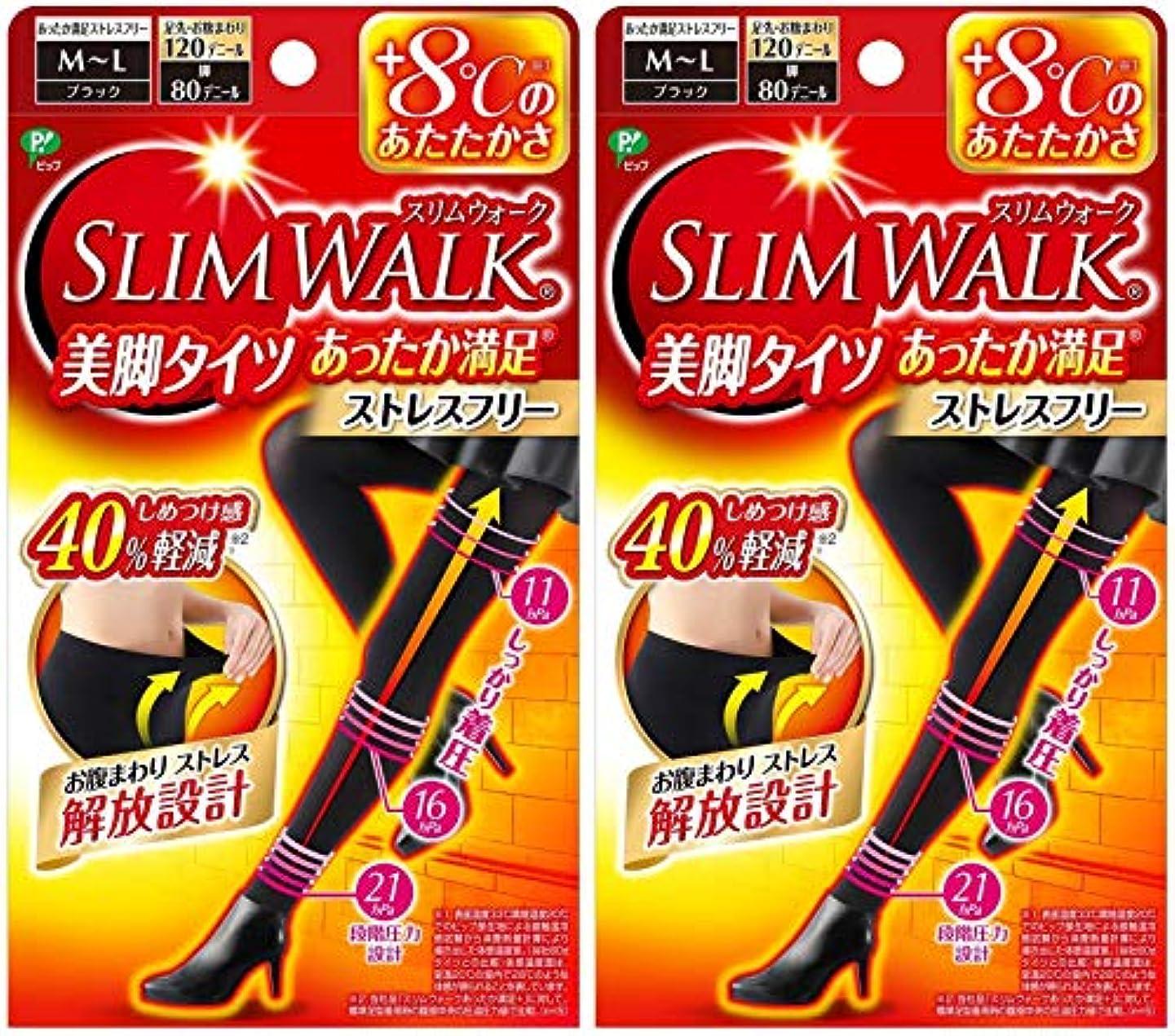 葉ランプ全く【2個セット】 スリムウォーク (SLIM WALK) 美脚タイツ あったか満足 おそと用 M~Lサイズ