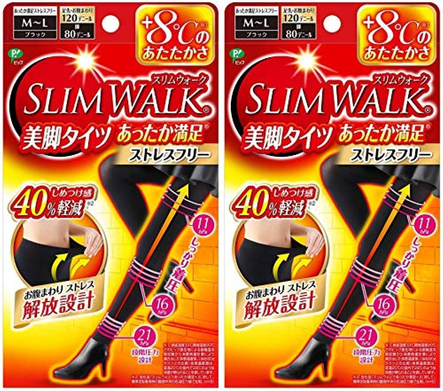 良い参加者謝罪する【2個セット】 スリムウォーク (SLIM WALK) 美脚タイツ あったか満足 おそと用 M~Lサイズ