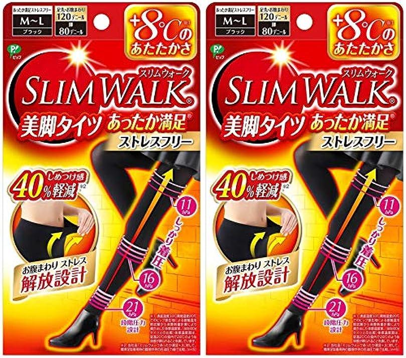 がっかりしたチーター離れた【2個セット】 スリムウォーク (SLIM WALK) 美脚タイツ あったか満足 おそと用 M~Lサイズ