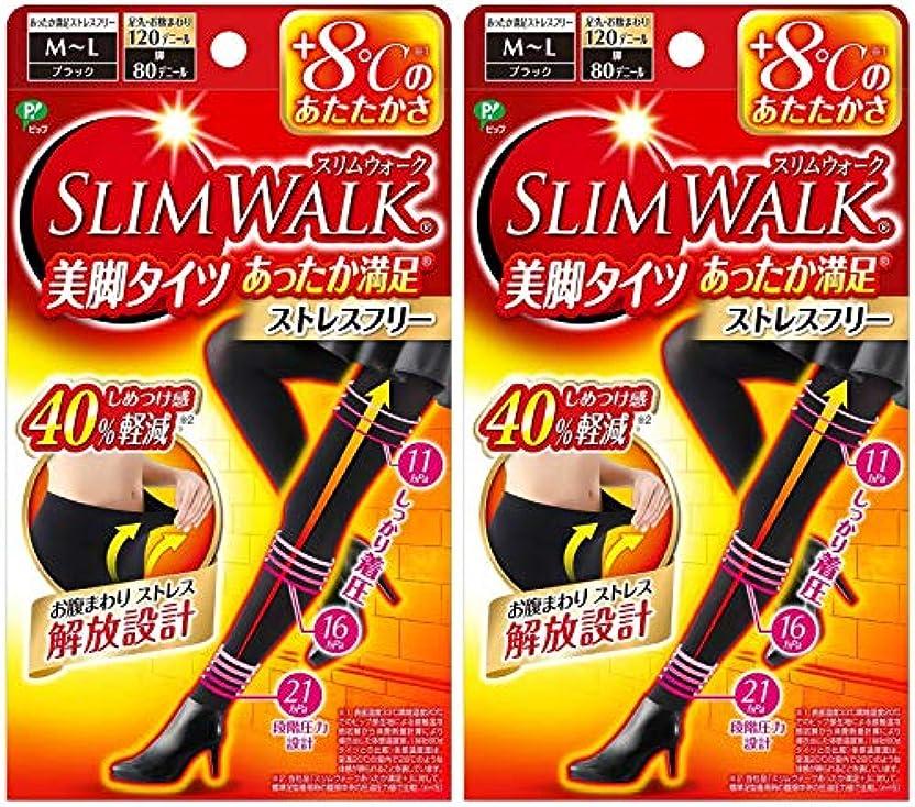 フォーカス影響リボン【2個セット】 スリムウォーク (SLIM WALK) 美脚タイツ あったか満足 おそと用 M~Lサイズ