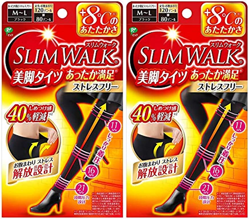 お風呂を持っている不和自治的【2個セット】 スリムウォーク (SLIM WALK) 美脚タイツ あったか満足 おそと用 M~Lサイズ