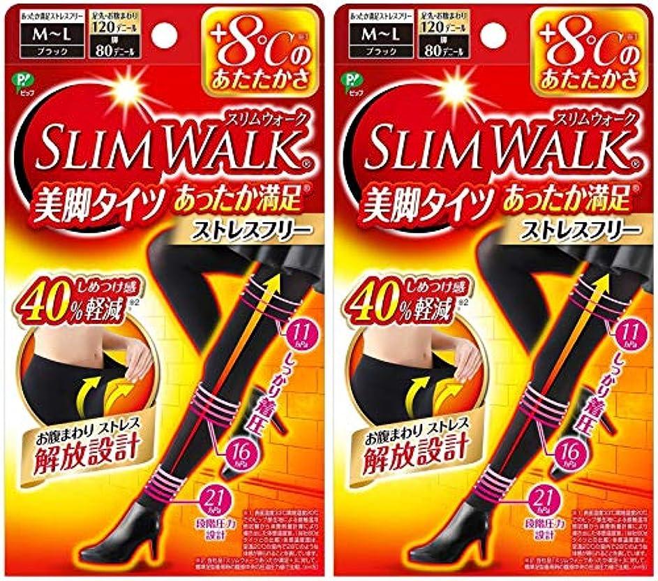 対処するインストラクター収穫【2個セット】 スリムウォーク (SLIM WALK) 美脚タイツ あったか満足 おそと用 M~Lサイズ