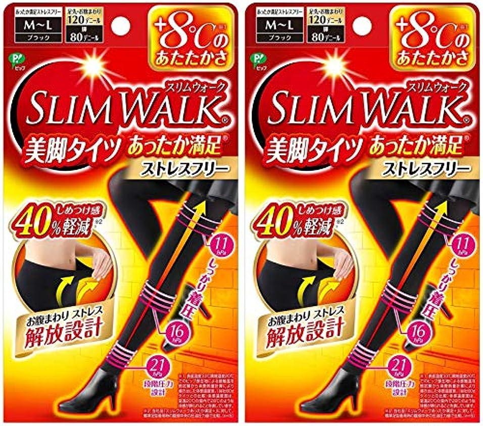 牛補償四【2個セット】 スリムウォーク (SLIM WALK) 美脚タイツ あったか満足 おそと用 M~Lサイズ