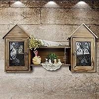ウォールシェルフ キャビネットのストレージキャビネットのキッチンの壁にぶら下がっているアメリカのレトロな木製の棚キャビネットのラック創造的な家の壁の装飾キャビネット(94 * 17 * 46センチメートル)をぶら下げている。