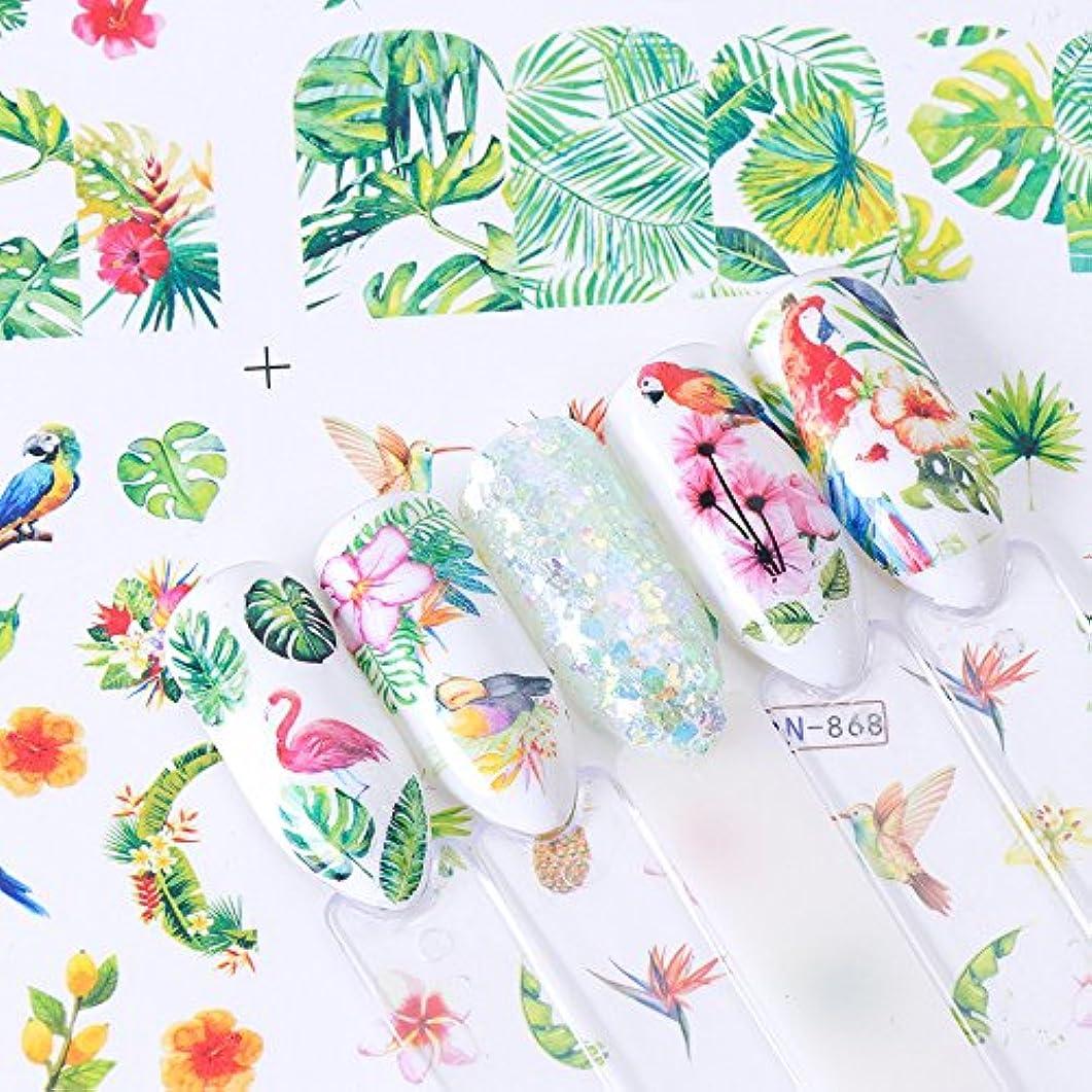 節約笑非公式12枚セット フラミンゴ 熱帯植物 モンステラネイルシール ウォーターネイルシール ジェルネイル セルフネイル レジン フラミンゴ 鳥 夏 トロピカル 南国 ピンクネイルシール ピンクフラミンゴシール ピンク