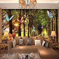 Xbwy カスタム牧歌的なスタイルフレスコ画美しい森歩道サンシャインバタフライ自然壁画壁紙リビングルーム不織布家の装飾-350X250Cm