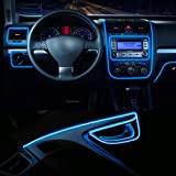 Car Interior Light Strip, 12V Neon Atmosphere Glowing Strobing Electroluminescent Light Glowing EL Wire Cable for Car Door/Co