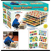 Set of 6 Educational Wood Puzzles with Wire Storage Rack [並行輸入品]