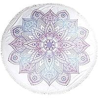 Round Beach Towel Blue Ornate Flower Tapestry Blanket Throw Picnic Rug Yoga Mat