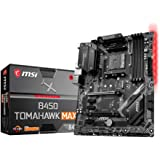 MSI B450 Tomahawk MAX Motherboard ATX, AM4, DDR4, LAN, USB 3.2 Gen2, Type-C, M.2, RGB Mystic Light Sync, HDMI, DVI-D, AMD RYZ