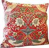 William Morris ウィリアム モリス Cushion Cover クッションカバー(43cm × 43cm) Strawberry Thief Crimson (ストロベリーシーフ・いちご泥棒) CC75