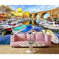 Xbwy フランス橋住宅モーターボートボート街の壁紙、レストランバーリビングルームテレビソファ壁の寝室3D壁画-400X280Cm
