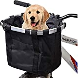 HAAMIIQII Bike Basket, Folding Small Pet Cat Dog Carrier Front Removable Bicycle Handlebar Basket Quick Release Easy Install