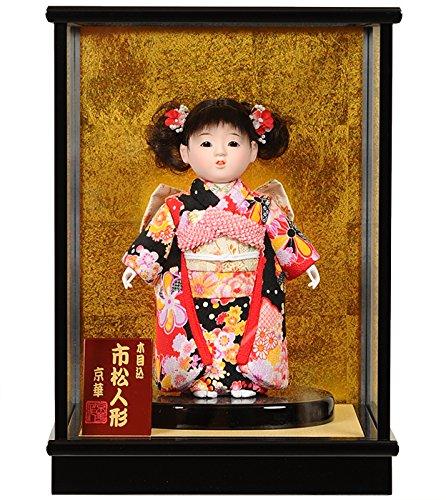 【市松人形】6号 木目込チリメン衣装市松:京華作 ケース入り【木目込市松人形】【浮世人形】