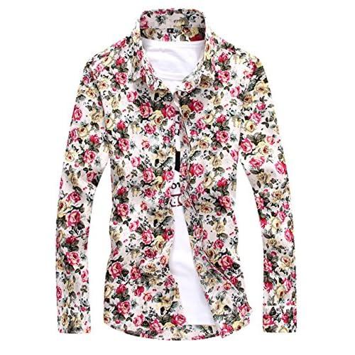 (シャンディニー) Chandeny カジュアル 花柄 シャツ メンズ 長袖 襟付き スリムシャツ 細身 オールシーズン 15375 ホワイト系 XL サイズ