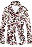 (シャンディニー) Chandeny カジュアル 花柄 シャツ メンズ 長袖 襟付き スリムシャツ 細身 オールシーズン 15375 ホワイト系 3XL サイズ
