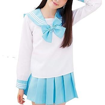 (R-Dream) セーラー服 コスプレ 長袖 選べるカラーとサイズ 女子高生 セクシー コスチューム 衣裳 (ブルー L)