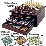 ボードゲームセット–デラックス15in 1Tabletop wood-accentedゲームセンターとストレージ引き出し( Checkers、チェス、Chinese Checkers、Parcheesi、TicTacToe、ソリティア、ヘビ、ラダー、Mancala、バックギャモン、Poker Dice ,トランプカード、Go Fish , Old Maid、ドミノ)