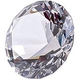多色透明 水晶 ダイヤモンド 80mm ペーパーウェイト ガラス 文鎮 装飾品 (透明) 【ギフトボックス】