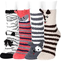 5 or 4 or 3Pairs Fuzzy Socks Women Girls Microfiber Slipper Sleeping Winter Warm Thermal Home Crew Socks Holiday Gifts FAYBOX