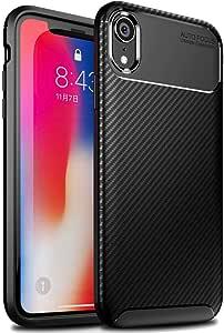 【FINON】 スマホケース iPhone XR 6.1インチ 専用 ケース カバー 【 カーボン デザイン (素材/TPU) 】 指紋防止 薄型 軽量 耐衝撃 簡易脱着 ソフトケース カラー:ブラック