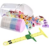 ATPWONZ Sewing Measuring Tools Kit with 5 in 1 Sliding Gauge, Multipurpose Sewing Clips, Triangle Chalks for Sewing Notions &