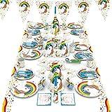 パーティー用使い捨て食器セット ユニコーンシリーズ 6人分 パーティー飾り付き 紙コップ 紙皿 三角フラッグ ストロー 帽子 テーブル掛け ティッシュ パーティー バースデー