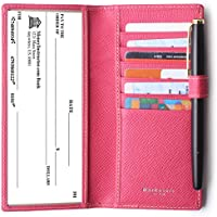 Leather Checkbook Cover For Men Women Checkbook Covers with Card Holder Wallet RFID Blocking