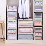 ESUPPORT Stackable Box Chest Plastic Transparent Drawer Unit Organizer Wardrobe Storage Boxes, Large/Beige