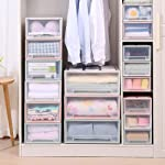 ESUPPORT Stackable Box Chest Plastic Transparent Drawer Unit Organizer Wardrobe Storage Boxes