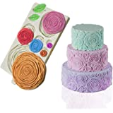 Mity Rain Rosette Ruffle Simpress Silicone Mold Ruffled Roses Fondant Mould for Sugarcraft, Cake Decoration, Gumpaste Icing