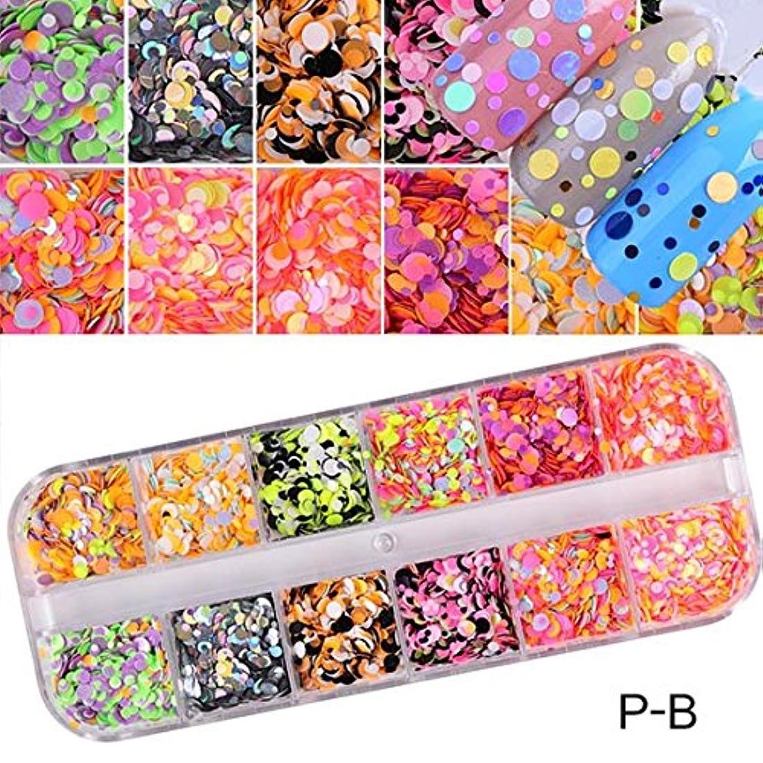 イル出会いパイル1 Set Dazzling Round Nail Glitter Sequins Dust Mixed 12 Grids 1/2/3mm DIY Charm Polish Flakes Decorations Manicure...