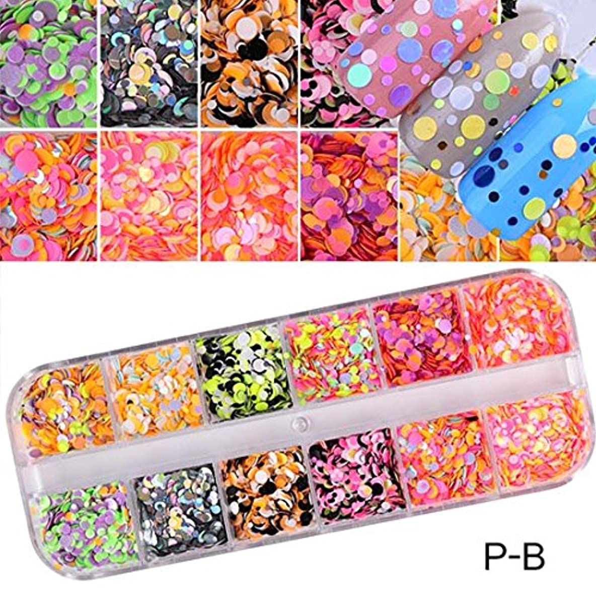 バーベキュー良性コレクション1 Set Dazzling Round Nail Glitter Sequins Dust Mixed 12 Grids 1/2/3mm DIY Charm Polish Flakes Decorations Manicure...