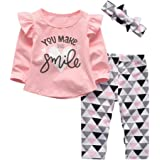 Bimarket 3Pcs Baby Girl Clothes Long Sleeve Letter You Make Me Smile Tops Geometric Pants and Headband Outfit Set (2-3T) Pink