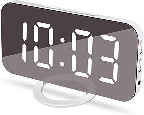 JOYNOTE 目覚まし時計 置き時計 掛け時計 大型LEDミラー表面デザイン USB電源式 三段輝度調節 鏡用アラーム用 おしゃれ 卓上 デジタル 大音量 大きい液晶ディスプレイ部屋/オフィス/台所用 USBポート付き andriod/iphone に給電適用 18ヶ月保証付き