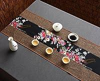 テーブルランナー コットンリネンテーブルランナー仏教ムードティーテーブルクッションエスニックスタイルテーブルフラッグベッドランナースクリプトと絵画 (色 : ブラウン ぶらうん, サイズ さいず : 30*150cm)